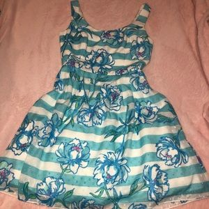 Lilly Pulitzer Blue Striped Floral Flare Dress